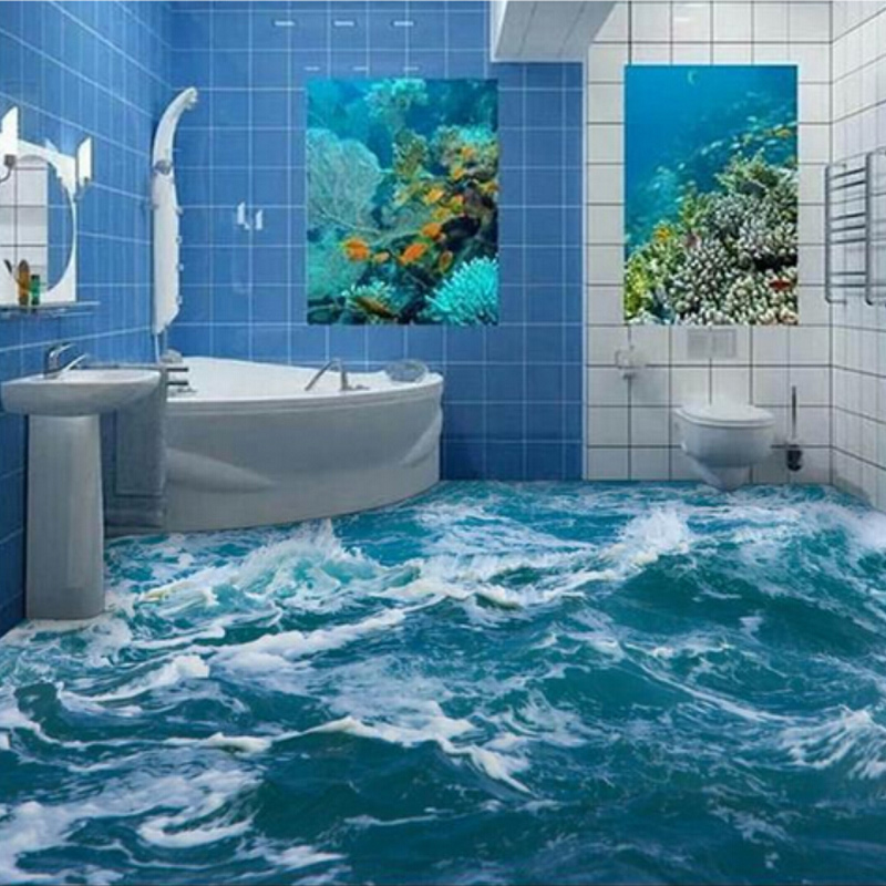 Waterproof 3d Mural Sea Water Bathroom Pvc Floor Wallpaper